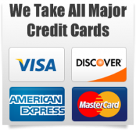 We Take all major credit cards